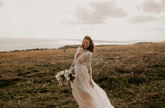 Bride wearing a Alon Livne Dress