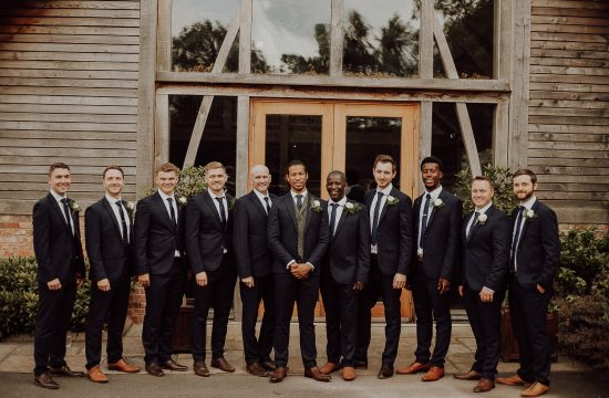Groomsmen group photo at Mythe Barn Leicester